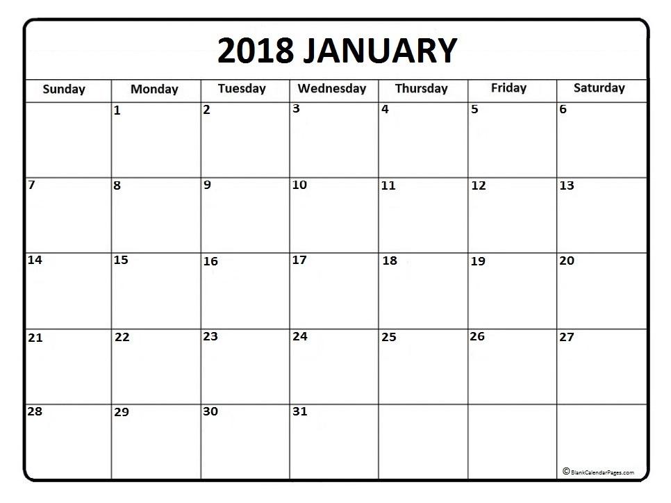 january 2018 calendars dates